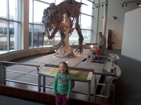 Rhiannon with Sue the T-Rex