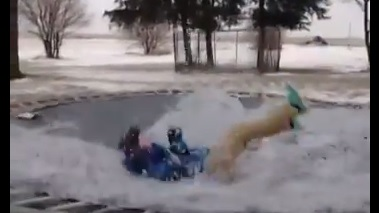 Video: Iowa Man + Ice + Trampoline = Science!