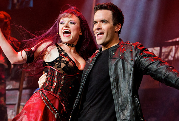 "Ruby Lewis as Scaramouche and Brian Justin Crum as Galileo Figaro in ""We Will Rock You"""